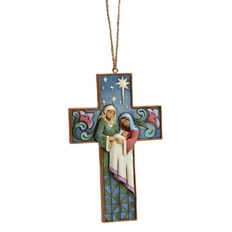 Jim Shore Heartwood Creek - Holy Family Cross Hanging Ornament