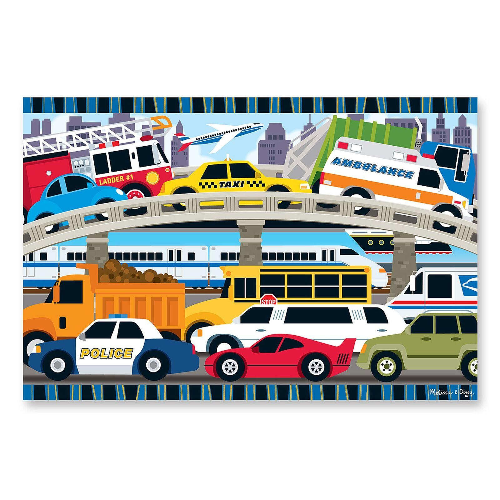 Melissa & Doug Floor Puzzle - Traffic Jam 24 Pieces