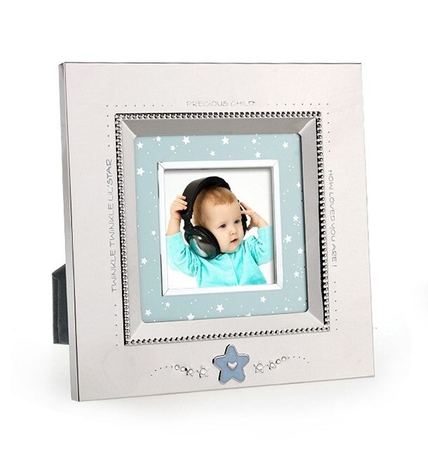 Whitehill Baby - Silver Plated Photo Frame - Blue Star Square