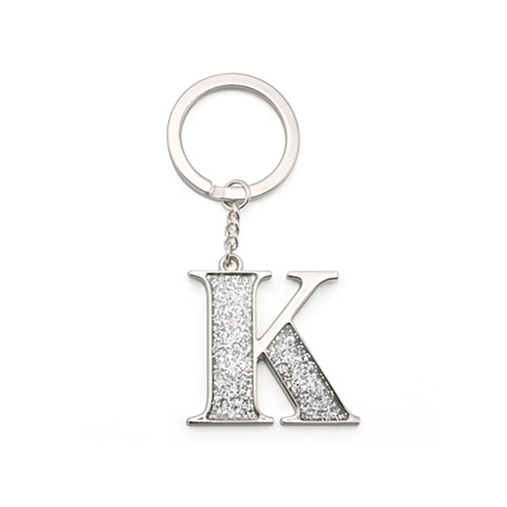 """Whitehill Keyrings - Silver Glitter Keyring """"K"""""""