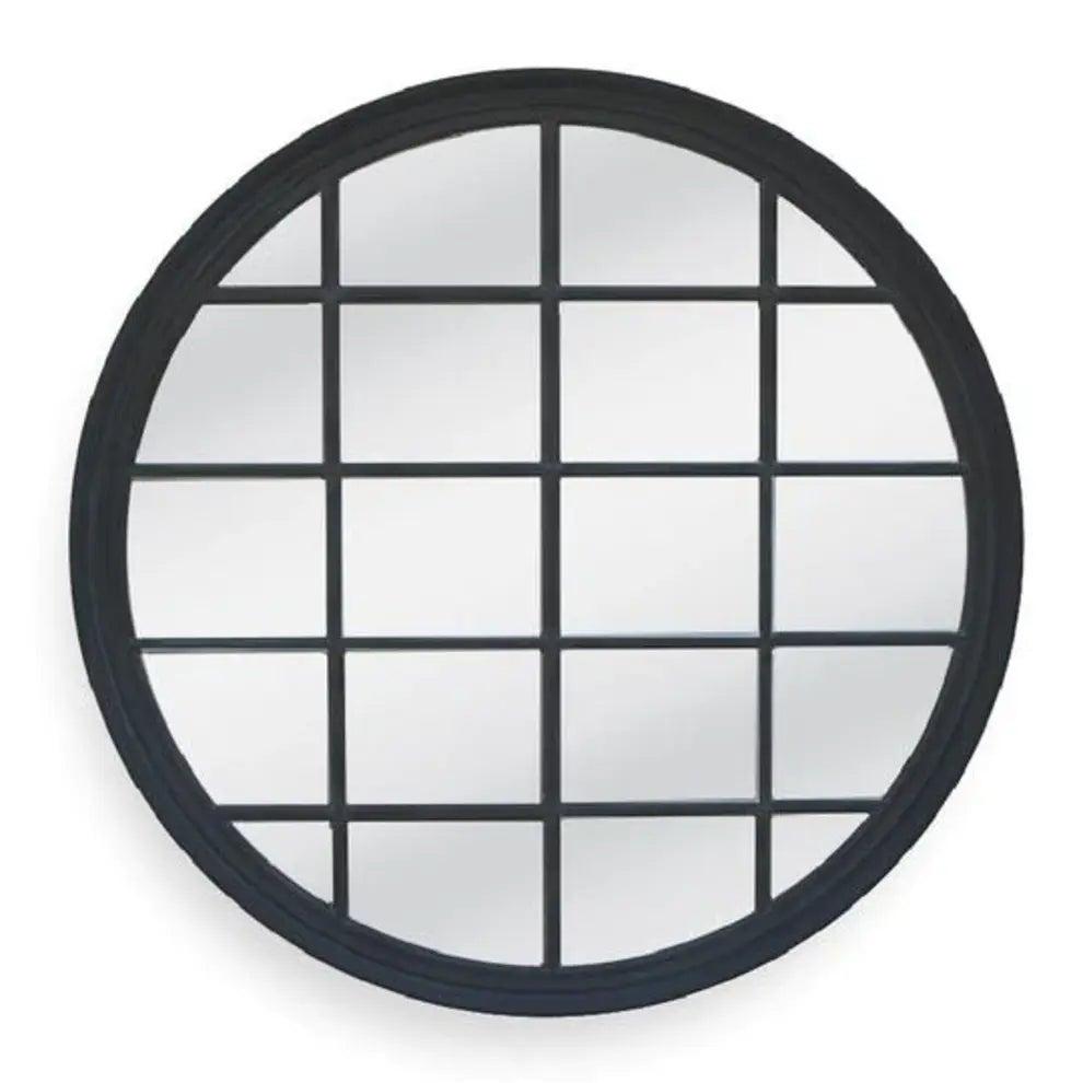 Window Style Mirror Black - Circle 100cm