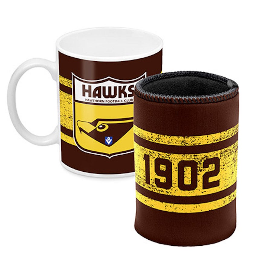 Hawthorn Hawks AFL Ceramic Cup and Can Cooler Gift Set