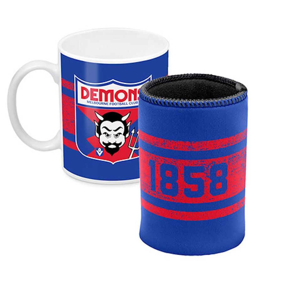 Melbourne Demons AFL Ceramic Cup and Can Cooler Gift Set