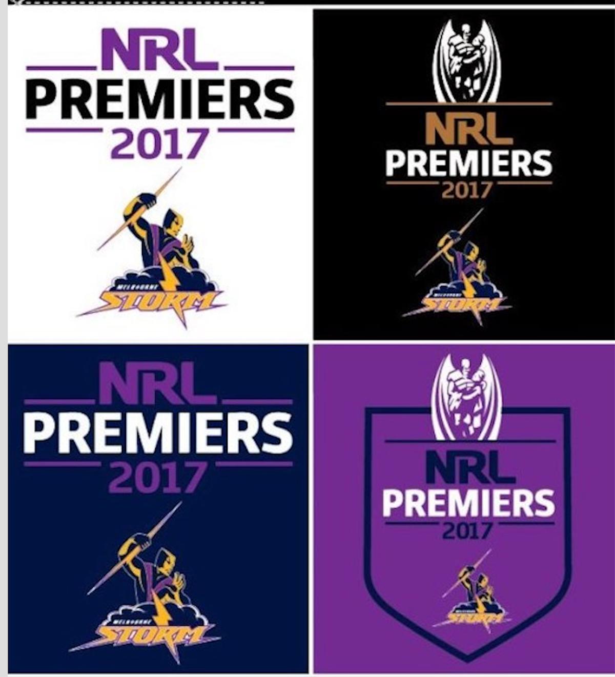 Melbourne Storm NRL 2017 Premiers Mini Premiership 4 Logo Decals Stickers