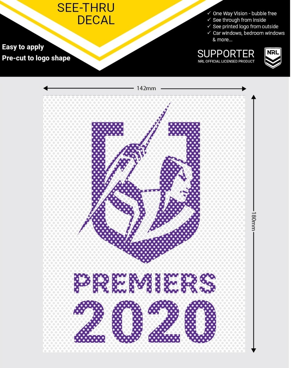 Melbourne Storm NRL 2020 Premiers Premiership See-Thru Car Window Decal Stickers