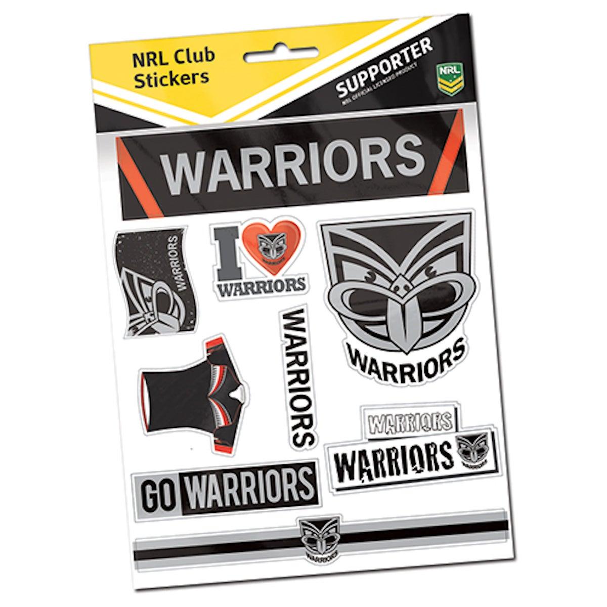 New Zealand Warriors NRL Team Logo Sticker Sheet * 9 Stickers