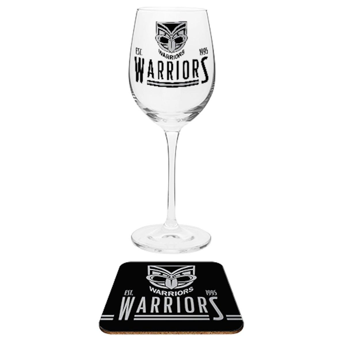 New Zealand Warriors NRL Wine Glass And Coaster Set