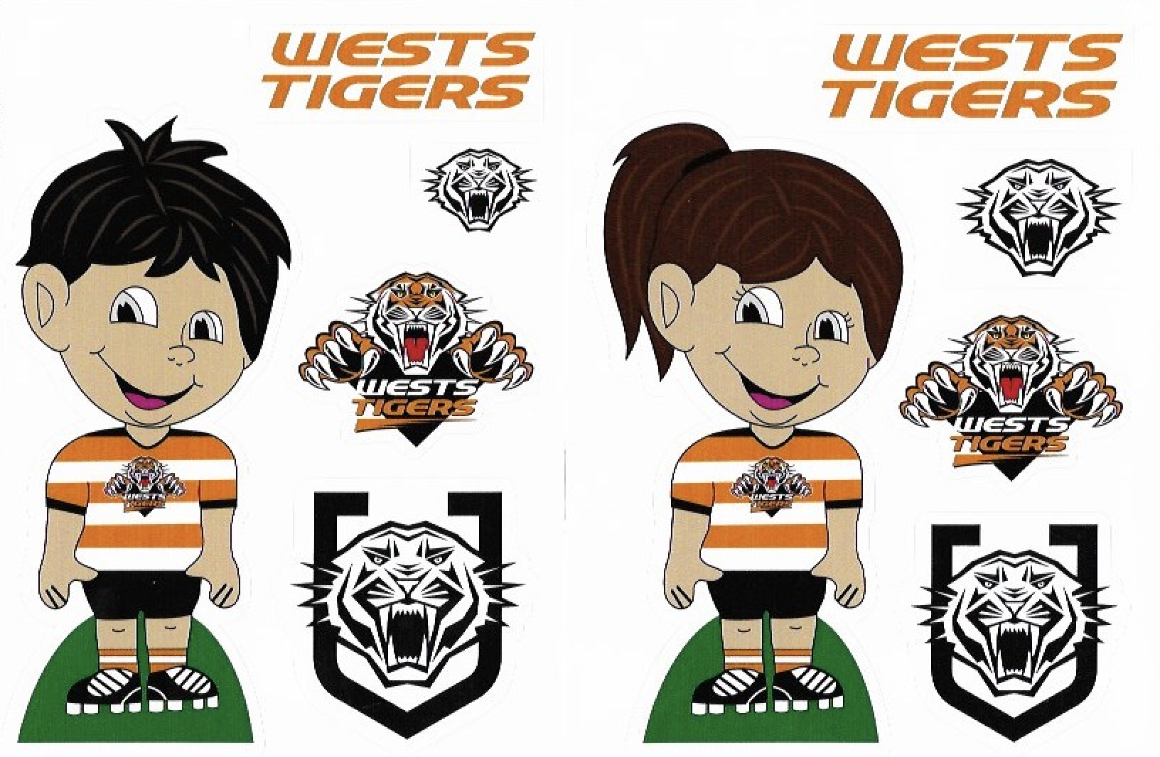 Wests Tigers NRL Boy Girl Logo Decal Stickers