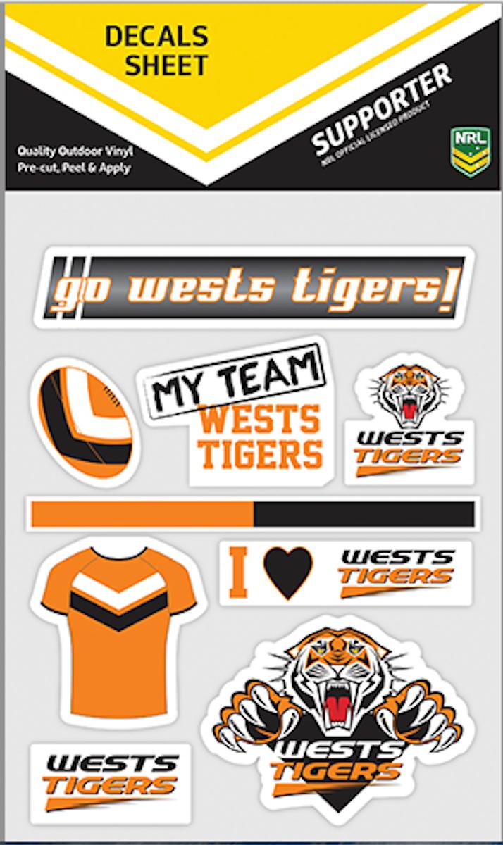 Wests Tigers NRL Mixed Logo Car Decals * 9 per sheet