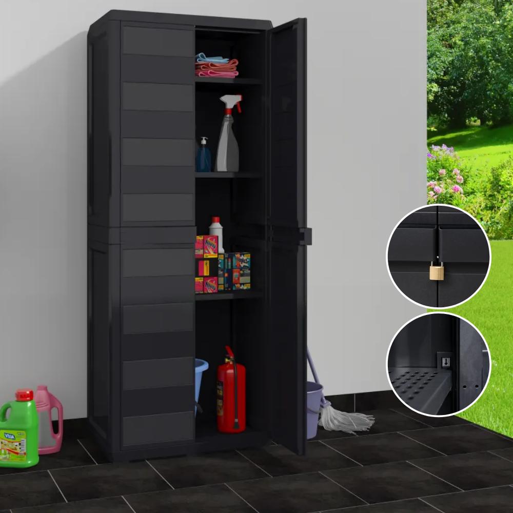 Storage Cabinet Outdoor Garage Garden Utility Tool Equipment Plastic Organiser