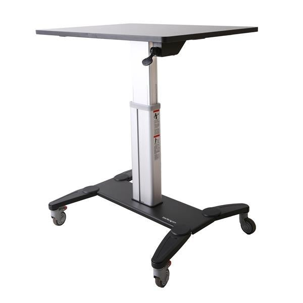 StarTech Mobile Standing Desk - Portable Sit Stand Ergonomic Height Adjustable Cart on Wheels - Rolling Computer/Laptop Workstation Table with Locking One-Touch Lift for Teacher/Student