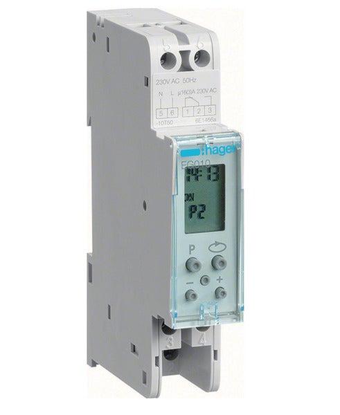 Hager EG010 - 16amp Single pole Digital timer - Battery Backup