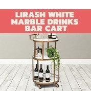 Lirash White Marble Drinks Bar Cart